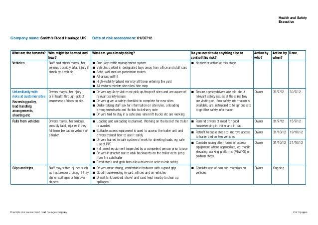 Sample Risk Assessment Roadhaulage