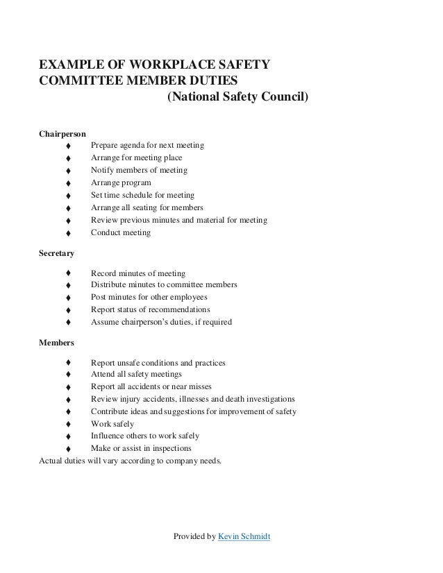 Sample Safety Committee Layout