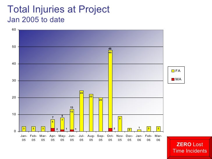 Total Injuries at Project Jan 2005 to date 7 8 13 48 ZERO  Lost Time Incidents