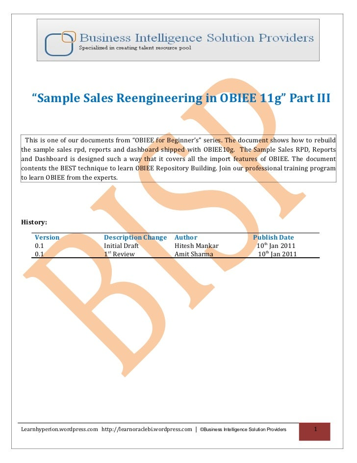 """Sample Sales Reengineering in OBIEE 11g"" Part III This is one of our documents from ""OBIEE for Beginner's"" series. The do..."