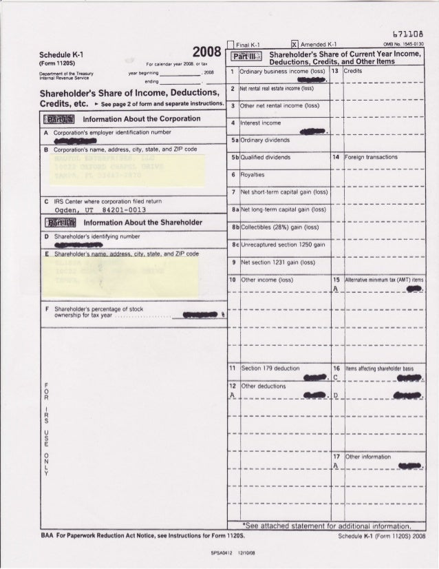sample schedule k 1