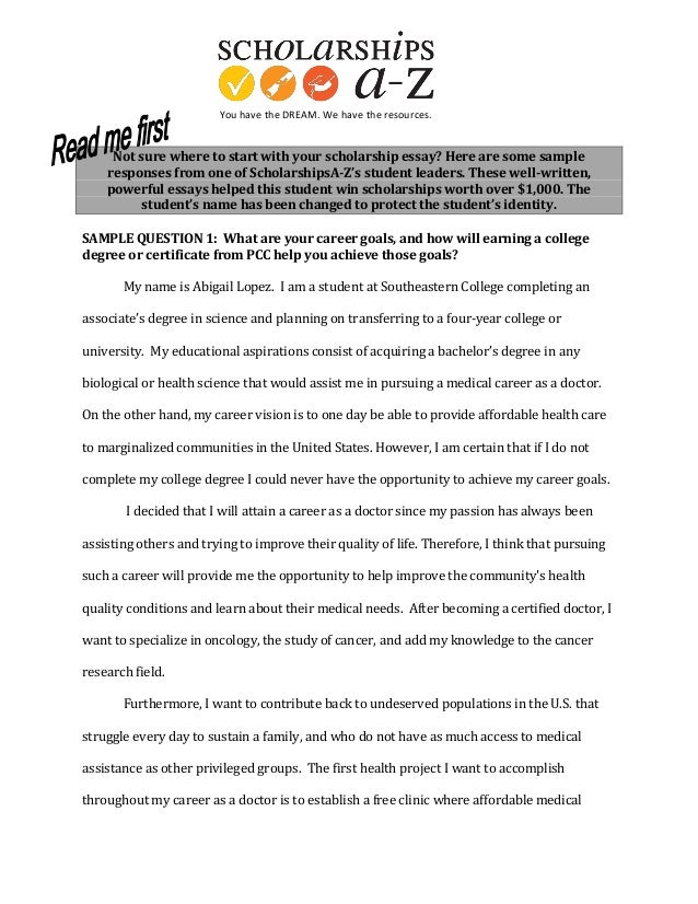 essay examples for scholarships