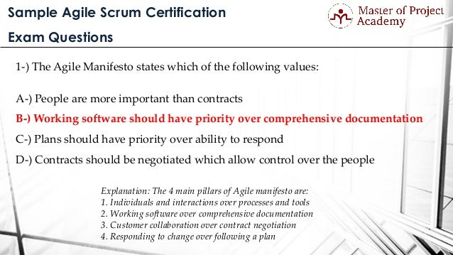 questions scrum exam certification sample agile
