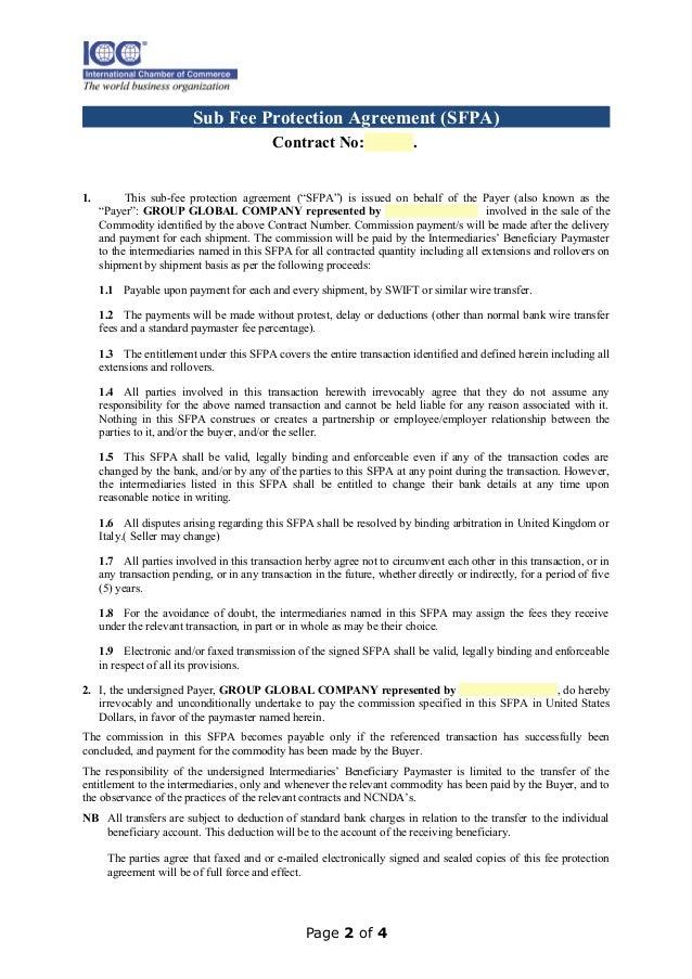 Sub Fee Agreement Sample