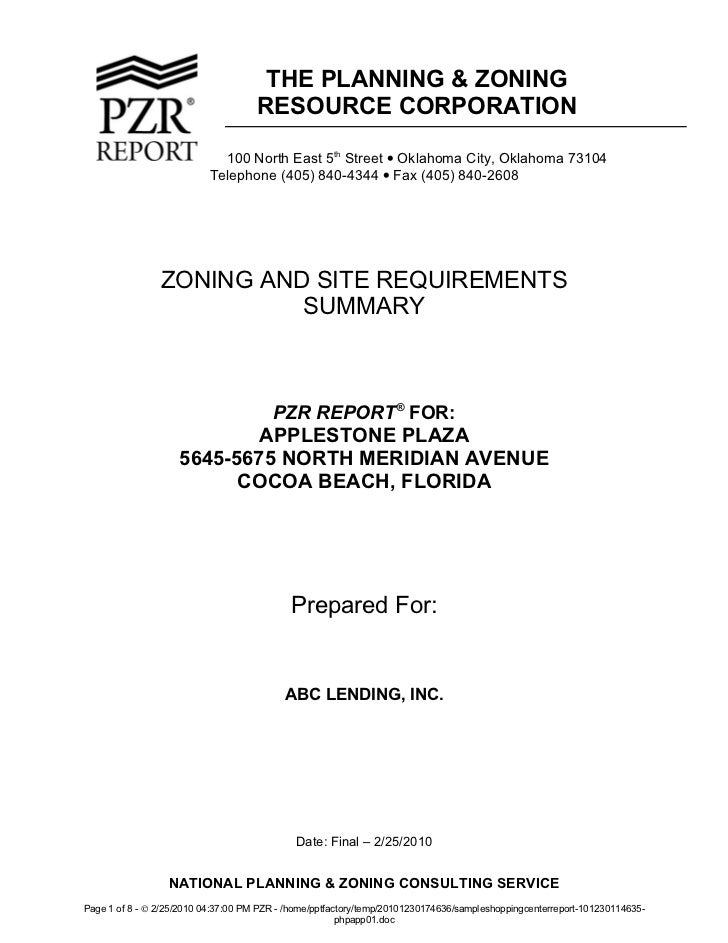 THE PLANNING & ZONING                                     RESOURCE CORPORATION                             100 North East ...
