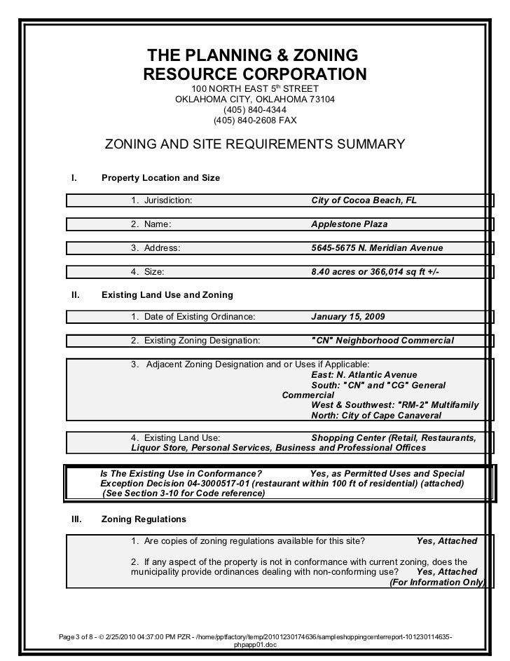 Property zoning report