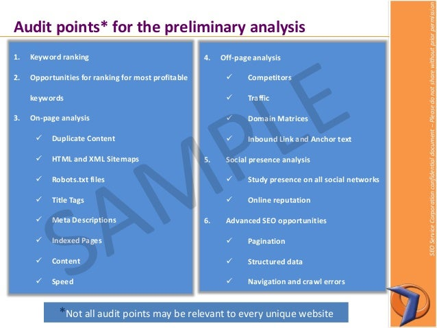 Sample SEO website audit report