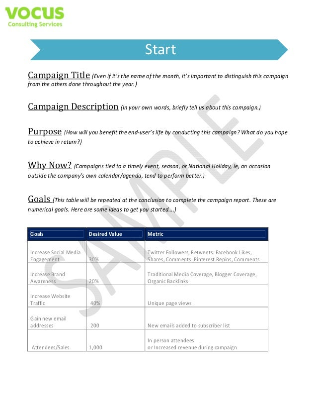 Sample Social Media Campaign Templates - Social media campaign template