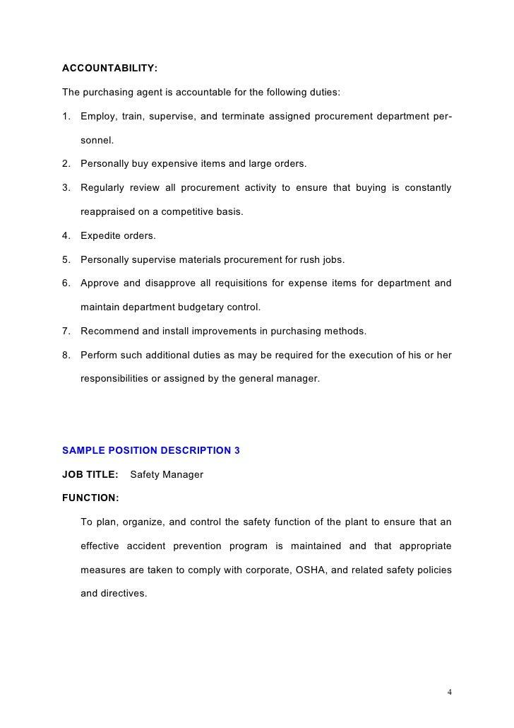 Samples of job descriptions b – Purchasing Agent Job Description