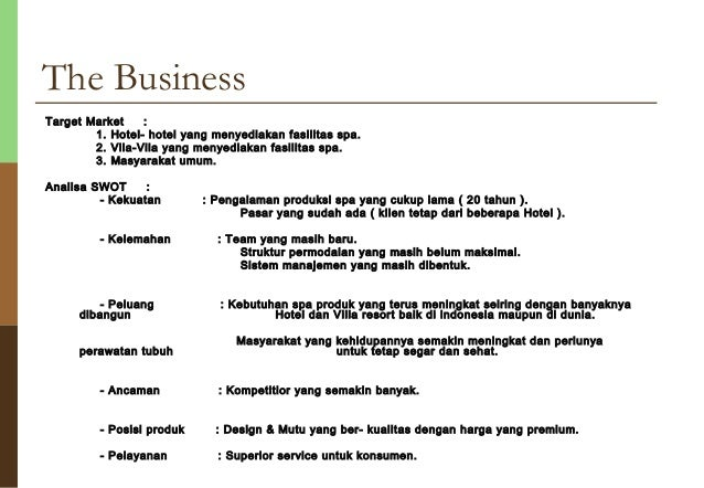 Sample spa business plan for A salon business plan