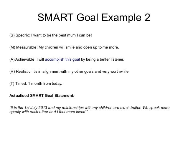 Samples Smart Goals