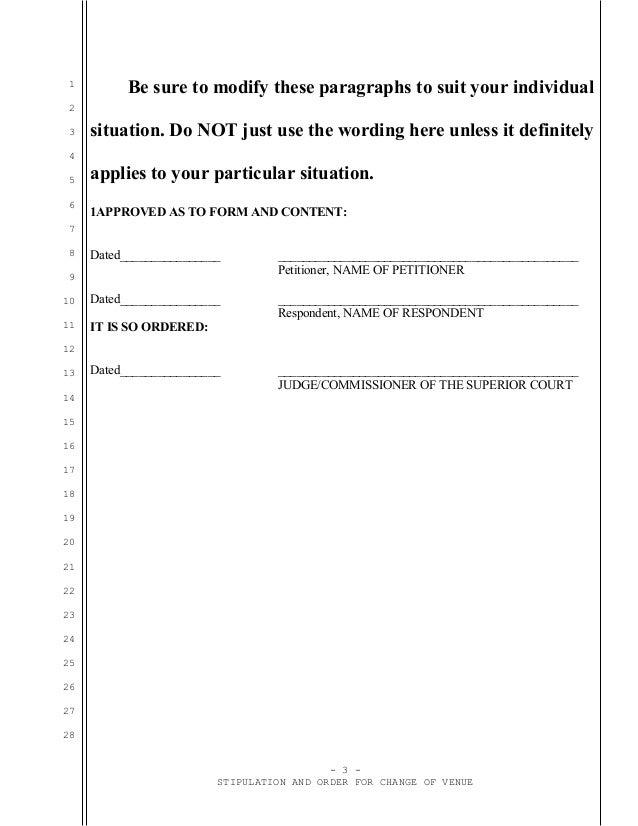 Sample stipulation and order for change of venue in California divorce