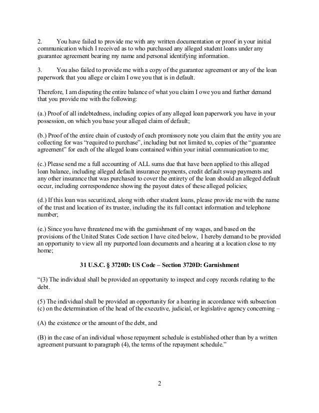 Sample student loan debt validation letter 1 2 spiritdancerdesigns Images