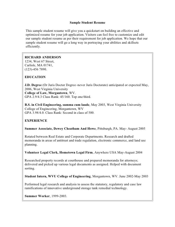 Sample Student Resume  This sample student resume will give you a quickstart on building an effective and optimized resume...