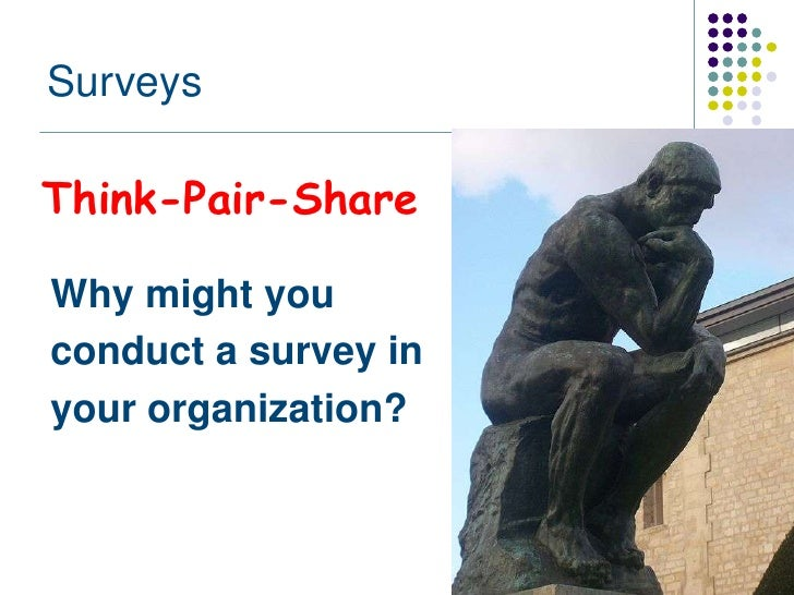 SurveysThink-Pair-ShareWhy might youconduct a survey inyour organization?