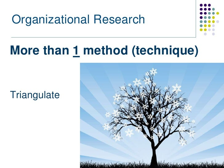 Organizational ResearchMore than 1 method (technique)Triangulate