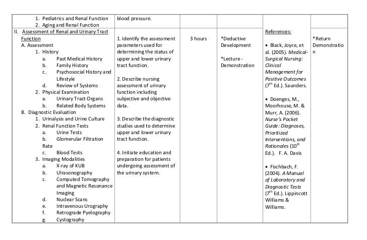 Sample syllabus renal and urinary tract function and disorders for Nursing teaching plan template