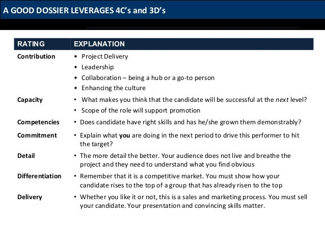 A Good Dossier Leverages 4cs