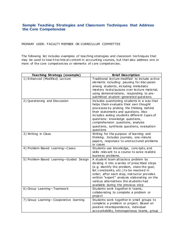 Sample Teaching Strategies And Classroom Techniques That Address The Core Competencies PRIMARY USER FACULTY MEMBER