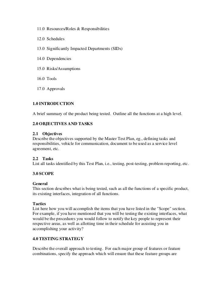 testing procedures template - sample test plan