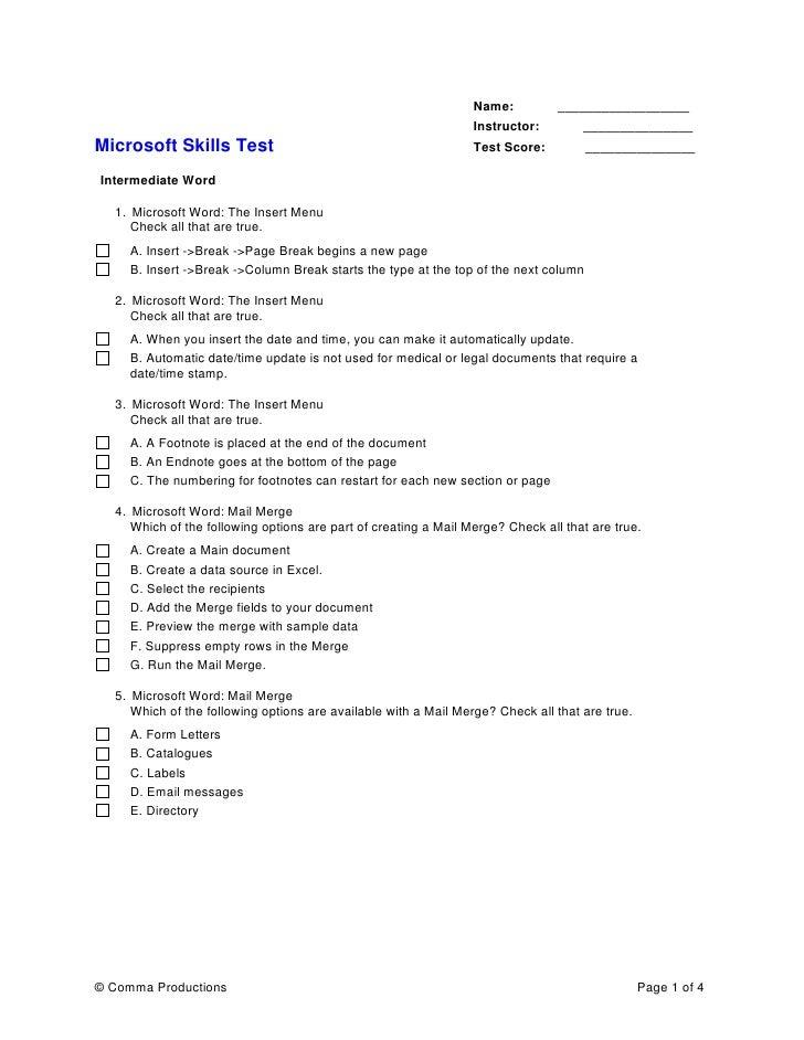 sample test word intermediate mulitple choice