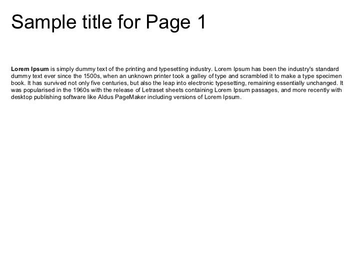 Sample title for Page 1Lorem Ipsum is simply dummy text of the printing and typesetting industry. Lorem Ipsum has been the...
