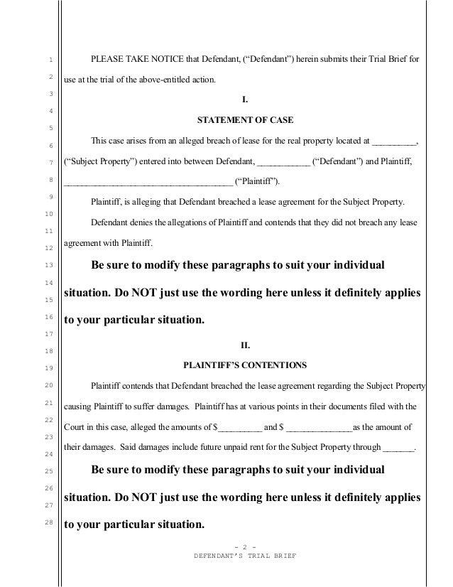 Sample trial brief for California civil case