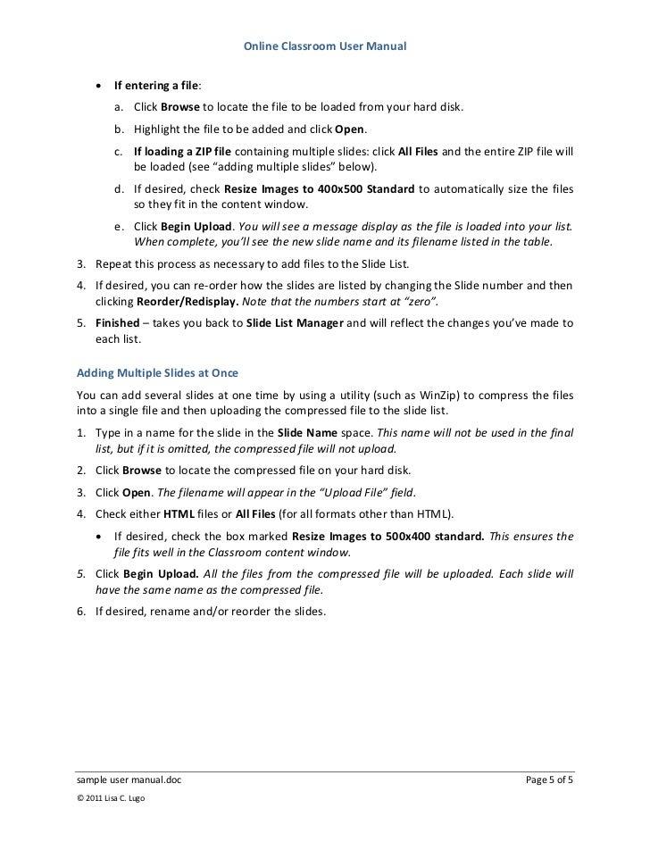 sample user manual rh slideshare net writing a manual template writing instruction manual templates