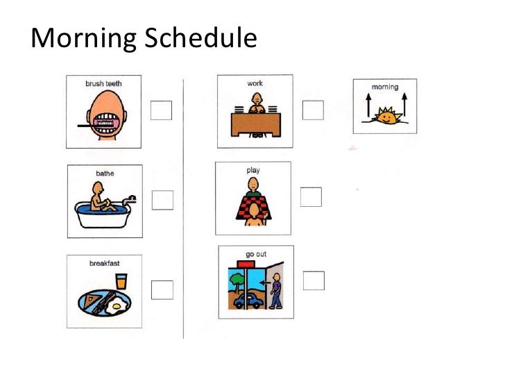 Sample visual schedule