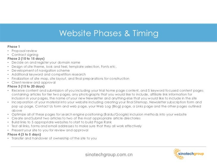 Website Phases U0026 TimingPhase 1u2022 Proposal ...