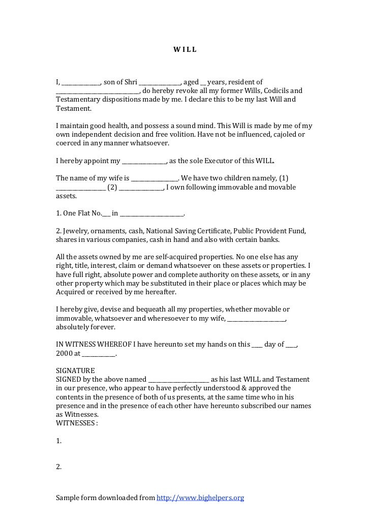 write a will free template - sample death will format