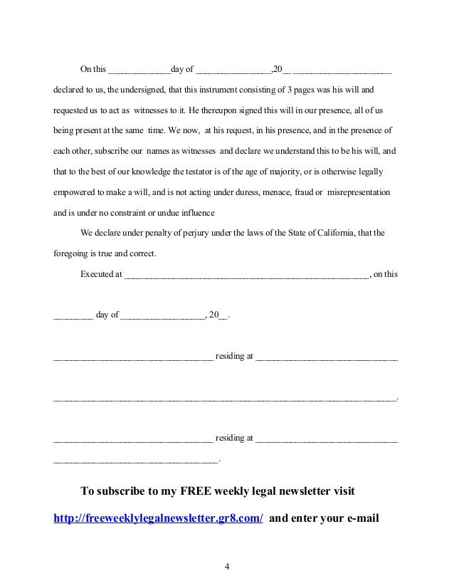 Sample Last Will And Testament Form. Codicil To Last Will And ...
