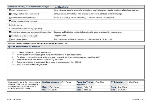 Sample workplace basedtrainingplan – Sample Training Plan
