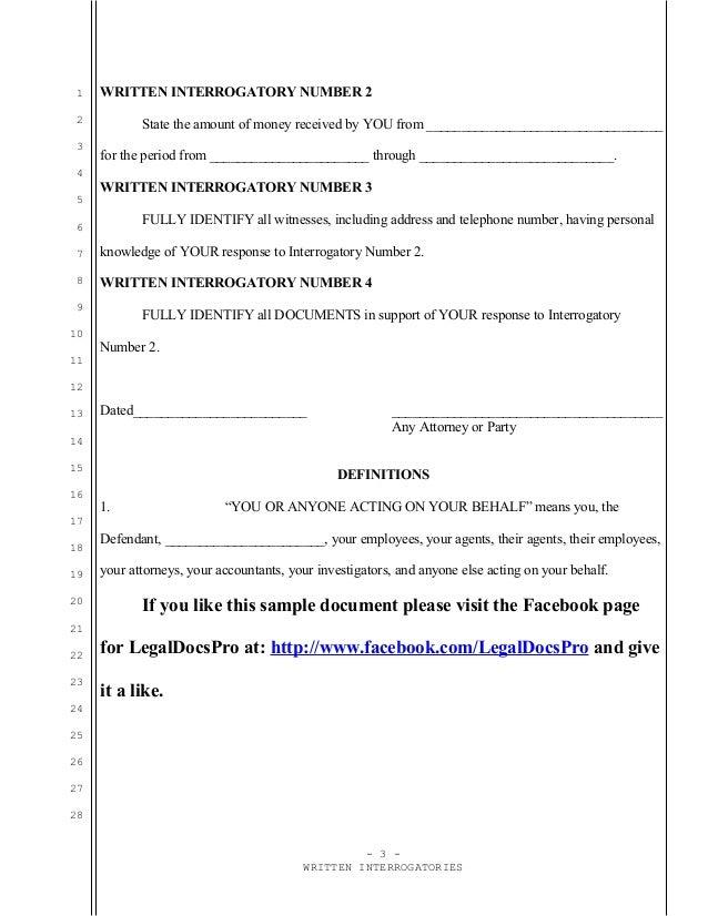 Sample written interrogatories under Federal Rule of Civil Procedure …