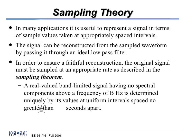 Sampling Theory   In many applications it is useful to represent a signal in terms    of sample values taken at appropria...