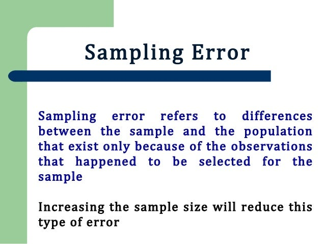 Sampling And Sampling Errors