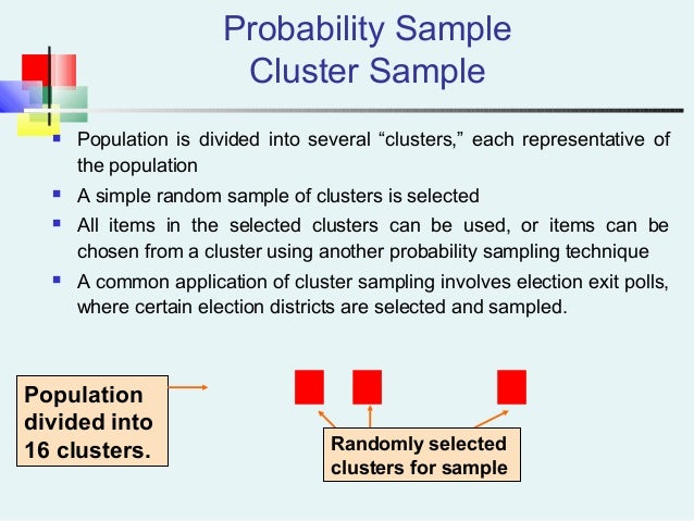 """Probability Sample Cluster Sample  Population is divided into several """"clusters,"""" each representative of the population ..."""