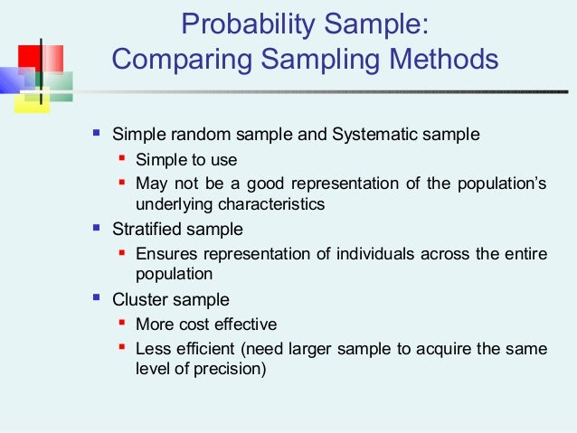 Probability Sample: Comparing Sampling Methods  Simple random sample and Systematic sample  Simple to use  May not be a...