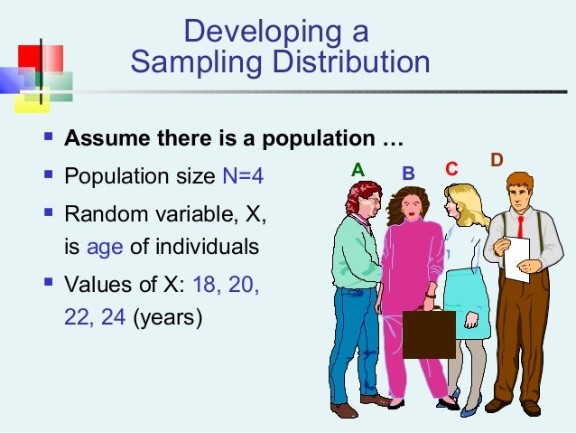 Developing a Sampling Distribution  Assume there is a population …  Population size N=4  Random variable, X, is age of ...