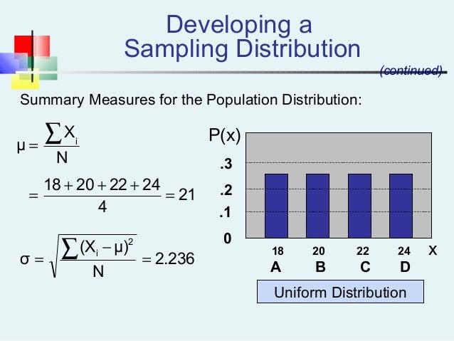 .3 .2 .1 0 18 20 22 24 A B C D Uniform Distribution P(x) x (continued) Summary Measures for the Population Distribution: D...