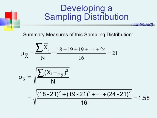 Summary Measures of this Sampling Distribution: Developing a Sampling Distribution (continued) 21 16 24191918 N X μ i X = ...