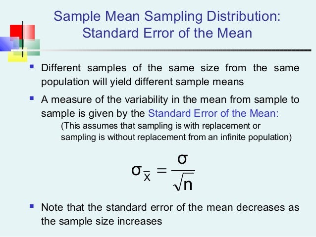 Sample Mean Sampling Distribution: Standard Error of the Mean  Different samples of the same size from the same populatio...