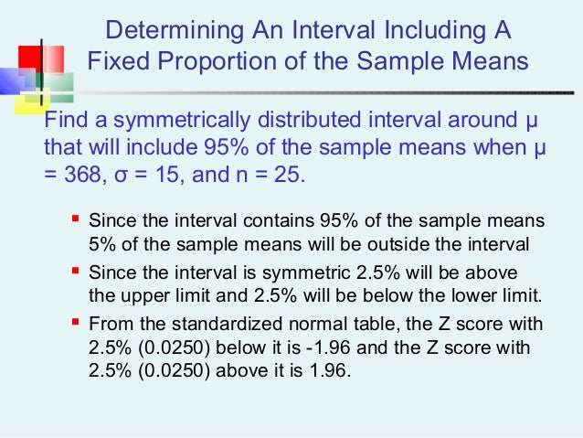 Determining An Interval Including A Fixed Proportion of the Sample Means Find a symmetrically distributed interval around ...
