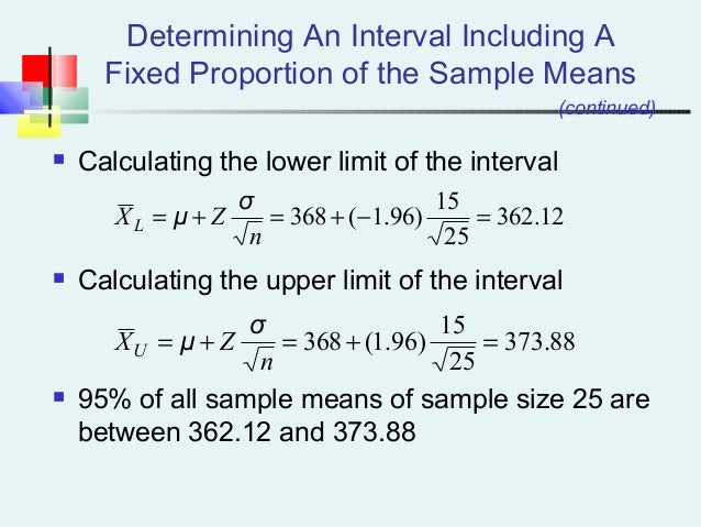 Determining An Interval Including A Fixed Proportion of the Sample Means  Calculating the lower limit of the interval  C...