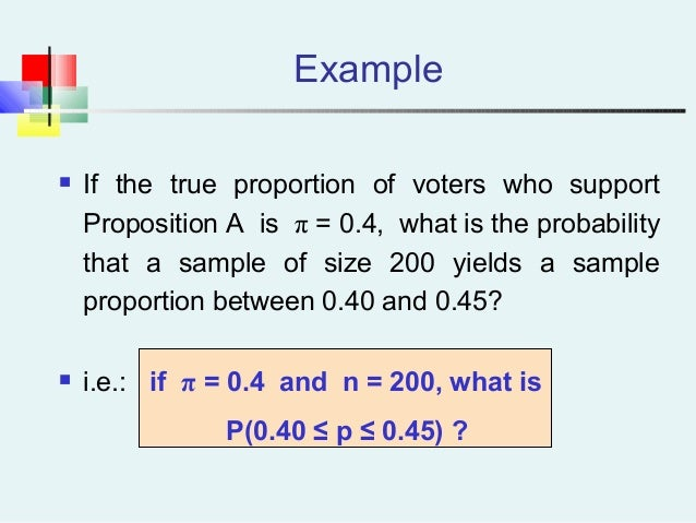 Example  If the true proportion of voters who support Proposition A is π = 0.4, what is the probability that a sample of ...