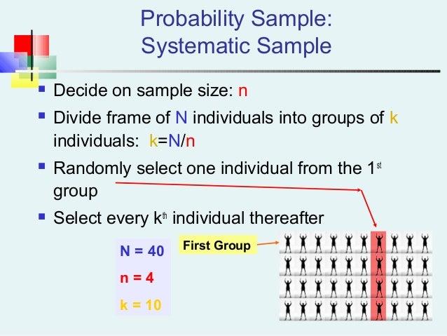  Decide on sample size: n  Divide frame of N individuals into groups of k individuals: k=N/n  Randomly select one indiv...