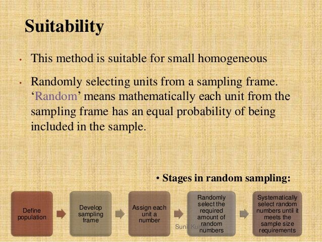 """Suitability • This method is suitable for small homogeneous • Randomly selecting units from a sampling frame. """"Random"""" mea..."""
