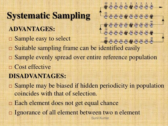 ADVANTAGES:  Sample easy to select  Suitable sampling frame can be identified easily  Sample evenly spread over entire ...
