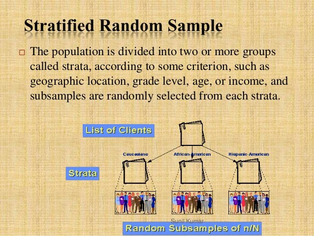  The population is divided into two or more groups called strata, according to some criterion, such as geographic locatio...