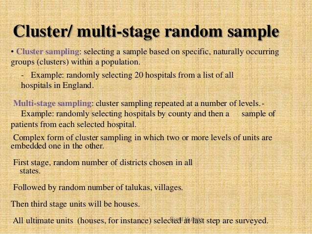 • Cluster sampling: selecting a sample based on specific, naturally occurring groups (clusters) within a population. - Exa...